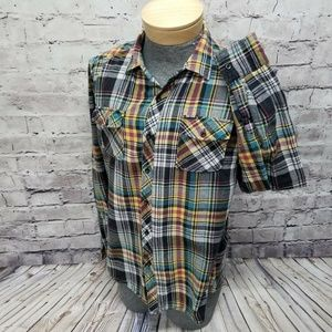 Zoo York Mens XL Plaid Flannel Button Front Long